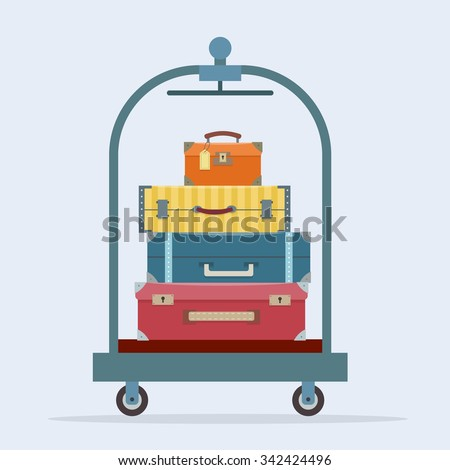 Baggage, luggage, suitcases  on trolley. Flat style vector illustration.