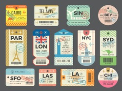 Baggage retro tags. Traveling old tickets flight labels stamps for luggage vector set