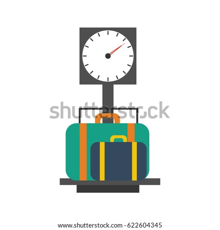 Baggage scales on the white background. Vector illustration