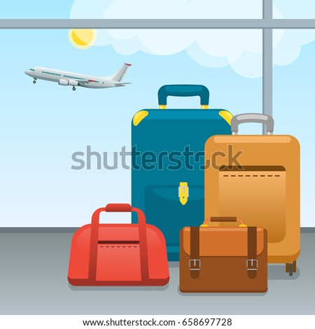 Baggage, suitcases and bags in airport. Checked in Big packed and hand luggage for traveling by aircraft. Travel and tourism concept.
