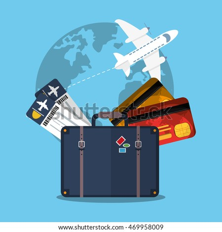 baggage ticket airplane credit card time travel vacations trip icon. Colorful design. Vector illustration
