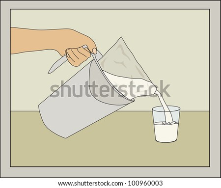 Bagged milk being poured