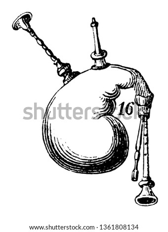 Bagpipe are a woodwind instrument using enclosed reeds fed from a constant reservoir of air in the form of a bag, vintage line drawing or engraving illustration.