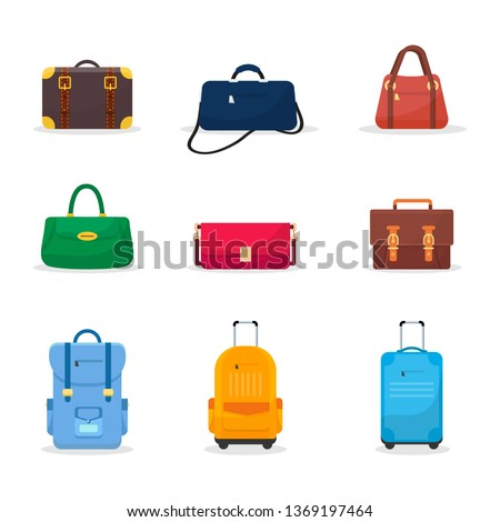 Bags and suitcases flat vector illustrations set. Women stylish multicolor handbags. Men leather formal briefcases. Fashionable clutches and purses. Travel luggage, baggage. Accessories cliparts