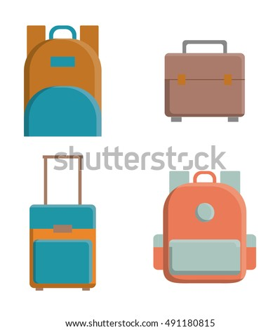Bags icon set. Baggage luggage tourism and travel theme. Isolated design. Vector illustration
