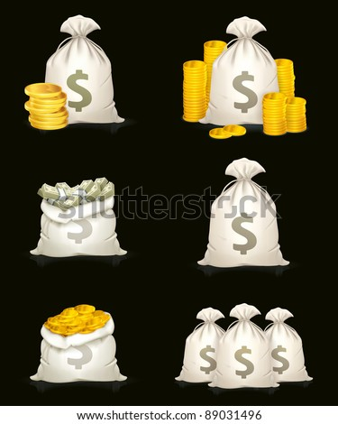 Bags of money, high quality icons on black