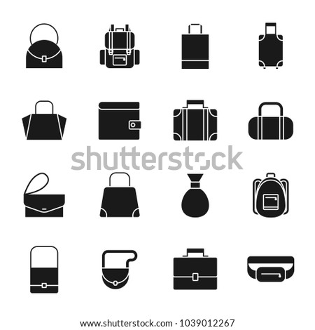 Bags silhouettes icons set