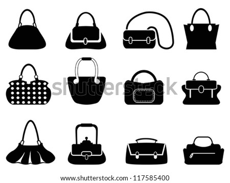 bags silhouettes set - stock vector