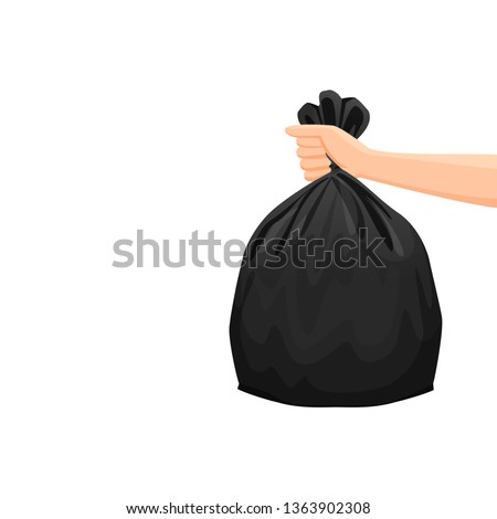 bags waste, garbage black plastic bag in hand isolated on white background, bin bag plastic black for disposal garbage, icon bag trash and hand, bags waste full, illustration rubbish junk bag recycle