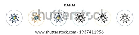 Bahai icon in filled, thin line, outline and stroke style. Vector illustration of two colored and black bahai vector icons designs can be used for mobile, ui, web
