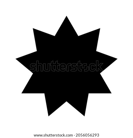 Bahai star. Black Bahai symbol. Religious symbol of Bahaism. Vector illustration.