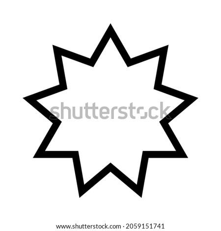 Bahai star. Black linear Bahai symbol. Religious symbol of Bahaism. Vector illustration.
