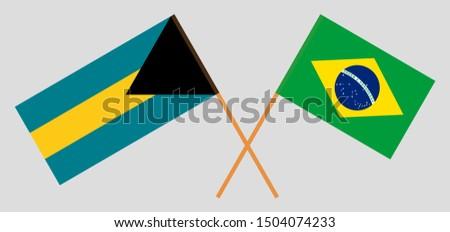 Bahamas and Brazil. Crossed Bahamian and Brazilian flags