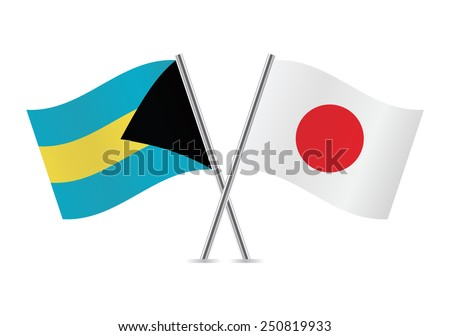 bahamas and japanese flags