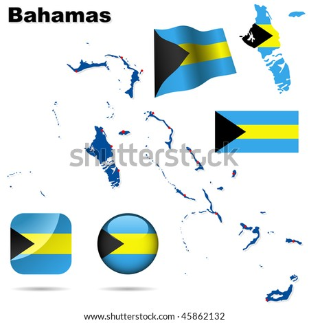 Bahamas vector set. Detailed country shape with region borders, flags and icons isolated on white background.