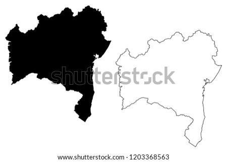 Bahia (Region of Brazil, Federated state, Federative Republic of Brazil) map vector illustration, scribble sketch Bahia map