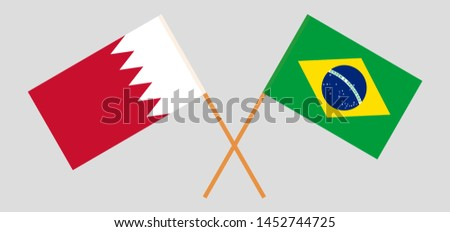 Bahrain and Brazil. Crossed Bahraini and Brazilian flags