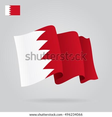 Bahrain waving Flag. Vector illustration.