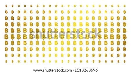 Baht icon gold colored halftone pattern. Vector baht pictograms are organized into halftone matrix with inclined gold color gradient. Designed for backgrounds, covers, templates and abstract concepts.