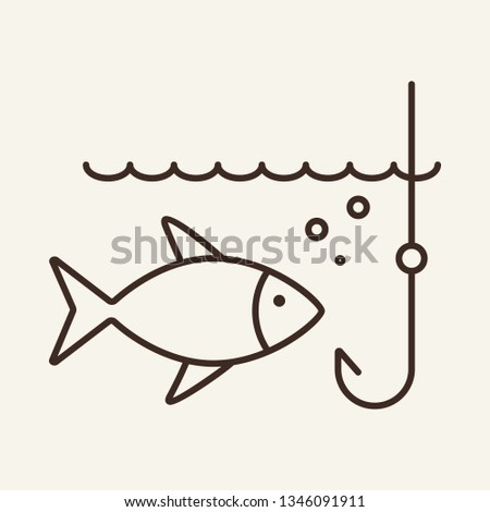 Bait line icon. Fish and hook in water. Strategy concept. Vector illustration can be used for topics like business, fishing, seafood