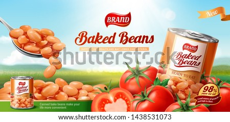 Baked beans ads with fresh tomatoes on bokeh nature background in 3d illustration