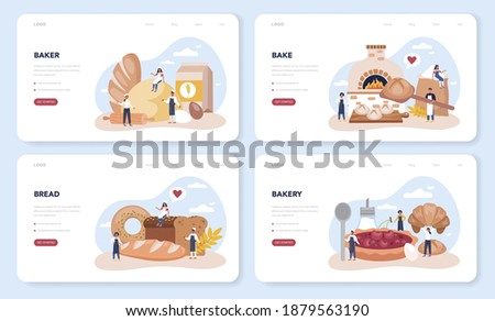 Baker web banner or landing page set. Chef in the uniform baking bread. Baking pastry process. Bakery worker and pastries goods. Isolated vector illustration