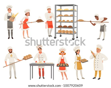 Bakers characters set with bread and cooking tools. Happy people in aprons and hats, young men and women in uniform working in bakery. Vector isolated on white. ストックフォト ©