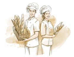 Bakers (man and woman) holding basket with breads. Hand drawn vector illustration on artistic watercolor background.