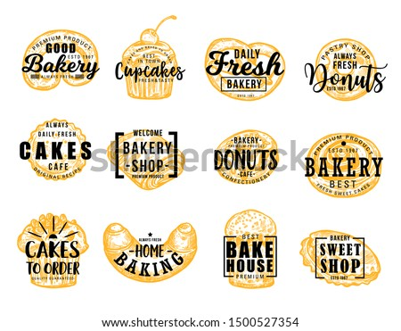 Bakery and confectionery food, lettering symbols. Vector pretzel and cupcake, donut and cakes, baking and bakehouse badge. Sweet shop, croissant and bun, patisserie pastry desserts