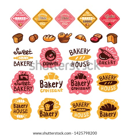 Bakery and confectionery products logos and icons with lettering. Bagel and croissant and baguette silhouettes with signs for pastry food shop. Food of dough and flour badges vector isolated set