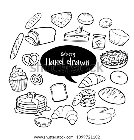 Bakery and dessert hand drawn doodles set