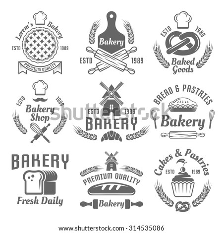 Bakery and pastries set of vector monochrome labels, badges, emblems isolated on white background