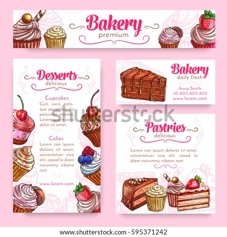 Bakery and pastry desserts banner template set. Cake and cupcake with cream, chocolate, cookie and candy, fruit dessert with strawberry, cherry and blueberry. Cake shop menu poster design
