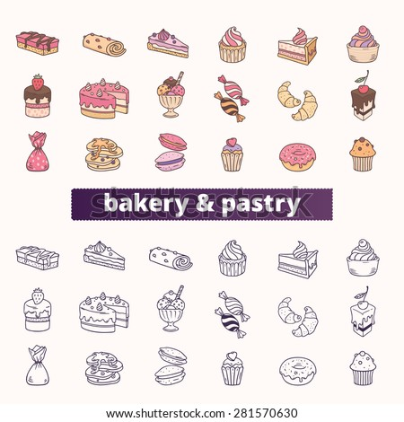 bakery and pastry icons big