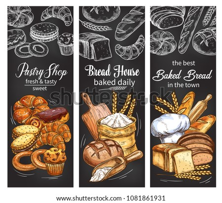Bakery and pastry shop chalkboard banner set with bread and bun chalk sketch. Rye bread, wheat baguette and croissant, sweet bun, raisin cupcake and toast, chocolate roll, cake, cookie and bagel