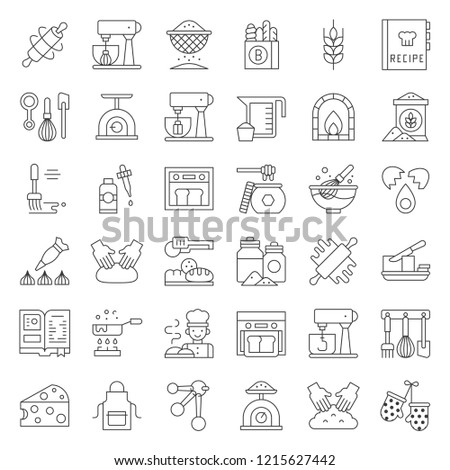 bakery and pastry shop related outline icon set editable stroke.