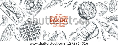 Bakery background. Bakery  top view frame. Hand drawn sketch with bread, pastry, sweet. Bakery set vector illustration. Background design template . Engraved food image