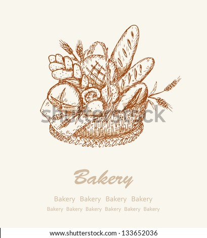 Bakery background Card with different kind bread in a basket