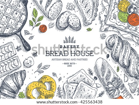 Bakery background. Linear graphic. Bread and pastry collection. Bread house. Engraved top view illustration. Flat lay. Vector illustration