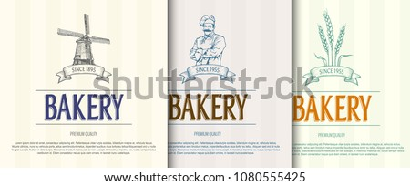 Bakery backgrounds set. Hand drawn bakery shop logos set. Template for your design works. Vector illustration.