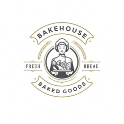 Bakery badge or label retro vector illustration baker woman holding basket with bread silhouette for bakehouse. Vintage typographic logo design.