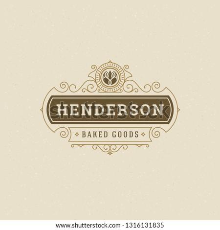Bakery badge or label retro vector illustration. Flourishes line ornament monogram for bakehouse. Typographic logo design. #1316131835