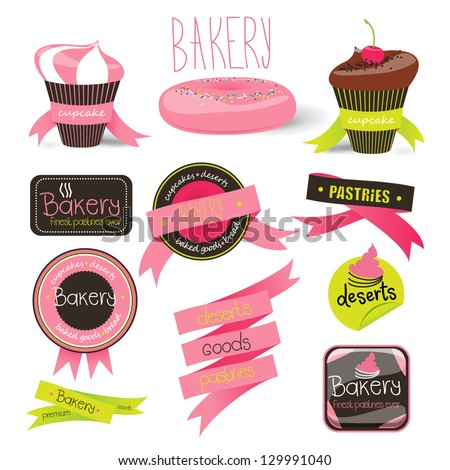 Bakery Badges And Ribbons - Vector Illustration, Graphic Design Editable For Your Design. Logo Symbol