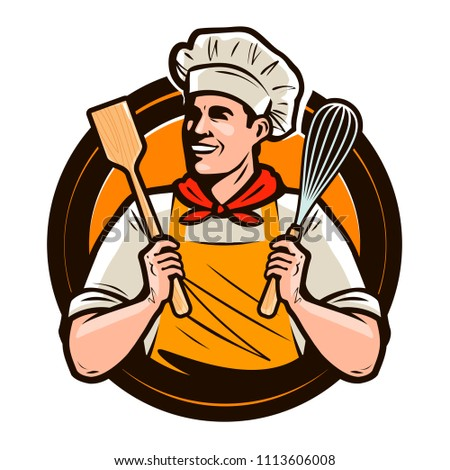 Bakery, bakeshop logo or label. Happy cook holds a cooking utensil and a whisk in hands. Vector illustration