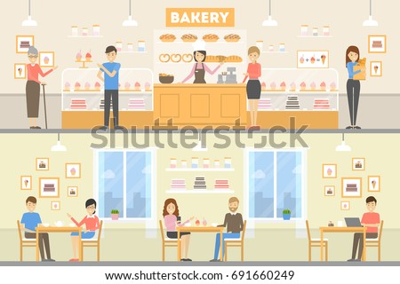Bakery cafe set. Illustrations of bakery with visitors and pastry. Inside interior.