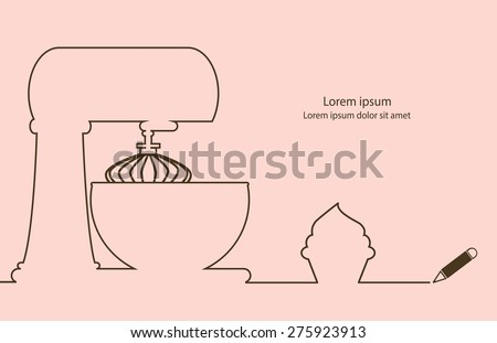 Bakery cake mix and cup cake line drawing design vector.