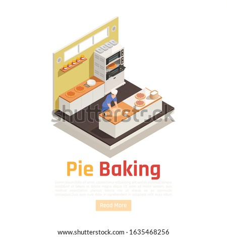 Bakery confectionery facility isometric workplace serving counter view with dough rolling for pies pizzas desserts vector illustration