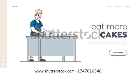 Bakery Factory and Food Production Landing Page Template. Baker Character Kneading Dough on Table for Baking Bread. Worker on Modern Confectionery or Baking Manufacture. Linear Vector Illustration
