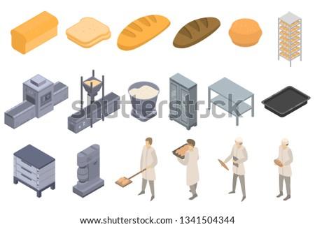 Bakery factory icons set. Isometric set of bakery factory vector icons for web design isolated on white background Stock photo ©