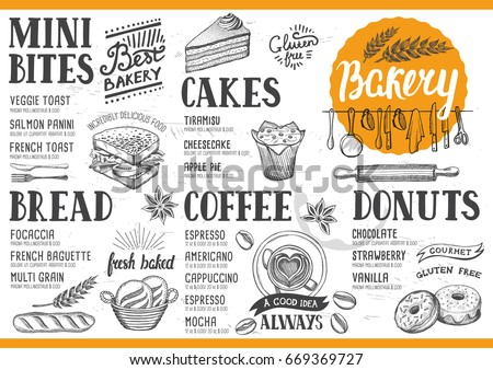 Bakery food menu for restaurant and cafe. Design template with hand-drawn graphic elements in doodle style.